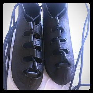 Black leather ghillies dance shoes